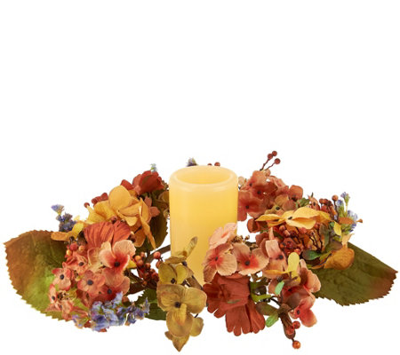 """As Is"" Autumn Hydrangea Centerpiece w/ 5"" Flameless Candle w/ Timer"