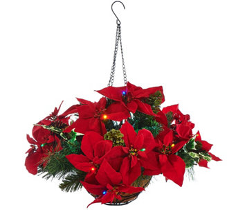 """As Is"" Bethelehem Lights Poinsettia Hanging Basket - H210979"