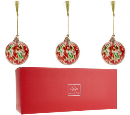 Lenox S/3 Hand Blown Art Glass Ornaments with Gift Boxes