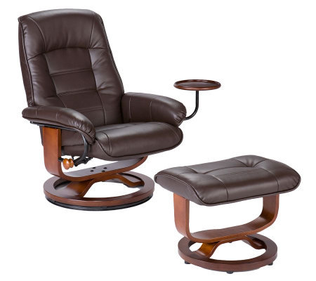 Bronson Cafe Brown Bonded Leather Recliner andOttoman