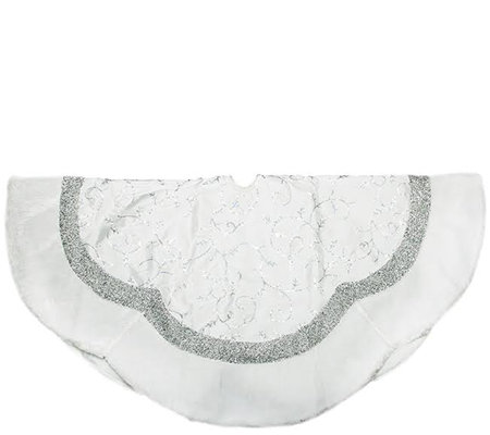 "48"" Embroidered Scallop Tree Skirt by Northlight"