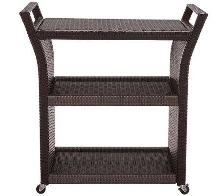 Palm Harbor Outdoor Wicker Bar Cart