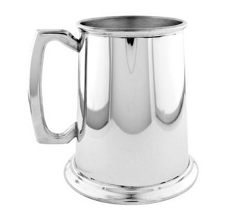 Pewter Bright Finish Glass Bottom 16-oz Tankard - H348979