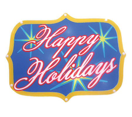 "Battery Operated 20 Light LED ""Happy Holidays""Sign"