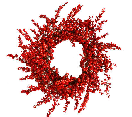 "26"" Red Berry Holiday Wreath by Valerie"