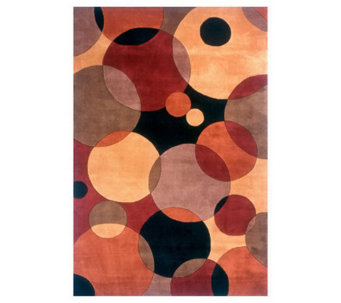 "Momeni New Wave Circles 7'6"" x 9'6"" Handmade Wool Rug - H161780"