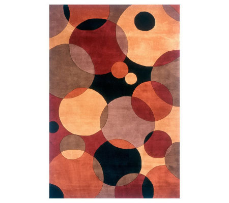 "Momeni New Wave Circles 7'6"" x 9'6"" Handmade Wool Rug"
