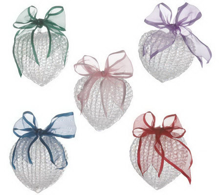 Set of 5 Spun Glass Heart Ornaments with Giftboxes by Valerie