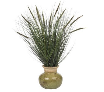 "27"" Grass w/Mini Cattails Plant by Nearly Natural - H179280"