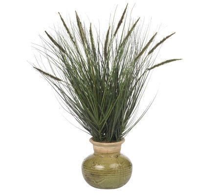 "27"" Grass w/Mini Cattails Plant by Nearly Natural"