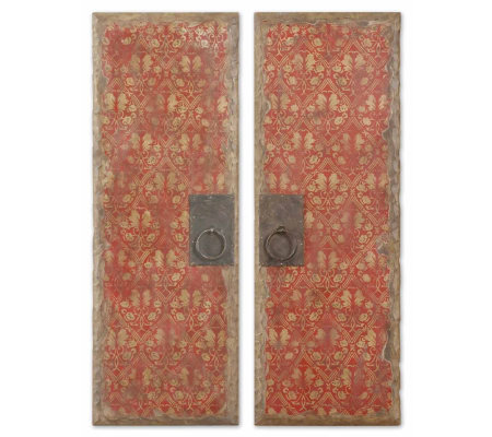 Set of 2 Red Door Panels Wall Art by Uttermost