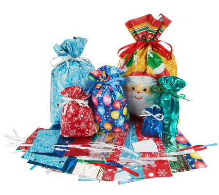 Kringle Express 52-Piece E-Z Drawstring Holiday Gift Bag Set