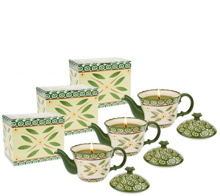 Temp-tations Set of 3 8oz. Teapot Candles with Gift Boxes