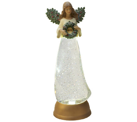 """As Is"" Illuminated Holiday Glitter Angel by Valerie"