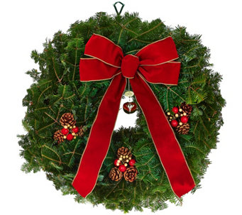 Del. Week 12/5 Fresh Balsam Jingle Bell Wreath by Valerie - H209780