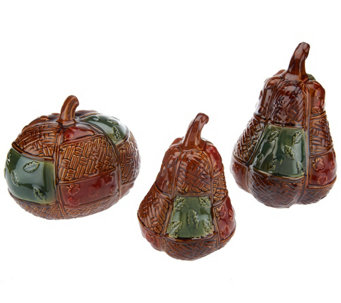 """As Is"" 3-piece Patchwork Ceramic Pumpkins by Valerie - H210580"