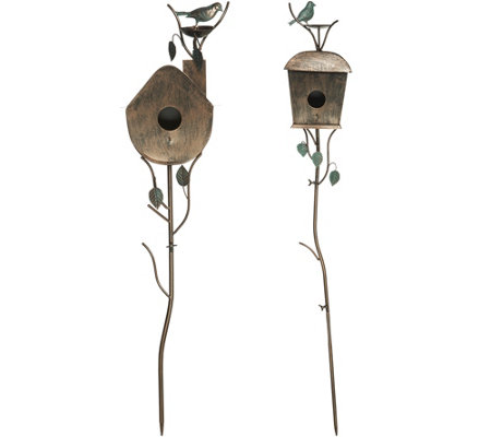 "Set of 2 Birdhouse Garden Stakes 36"" and 48"""