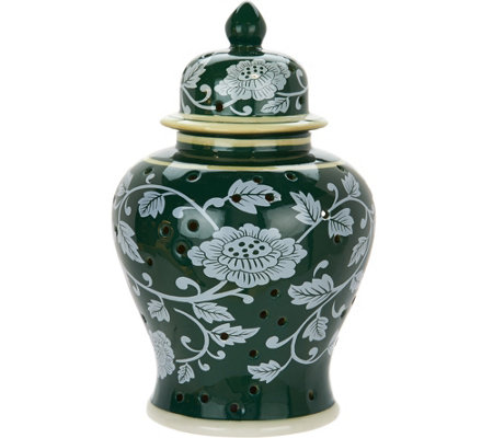 "10"" Porcelain Color Reverse Illuminated Ginger Jar Urn by Valerie"