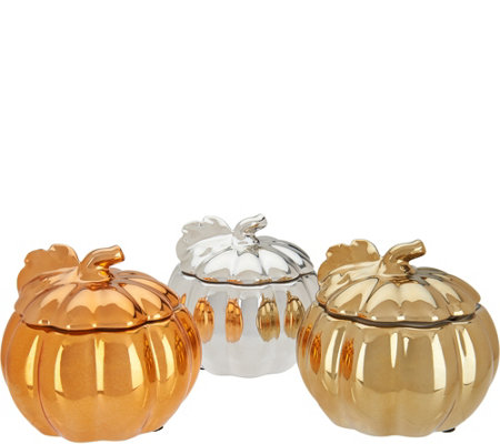 """As Is"" HomeWorx by Harry Slatkin S/3 Ceramic Pumpkin Candles"