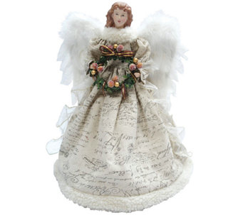 Ivory Antiqued Scroll Angel Tree Topper by Santa's Workshop - H285180