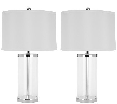 Set of 2 Jeanie Clear Glass Cylinder Lamps by Safavieh