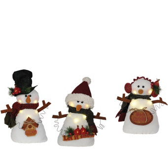 "Set of 3 11"" Snowmen with LED Lights by Santa'sWorkshop - H288980"
