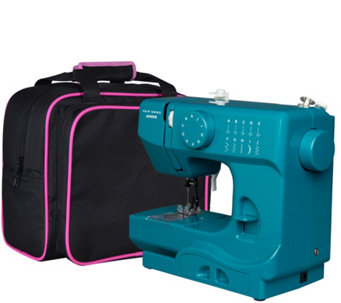 Janome Compact Portable Sewing Machine with Canvas Tote Bag - H289580