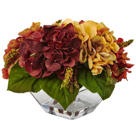 Autumn Hydrangea Berry with Vase by Nearly Natural