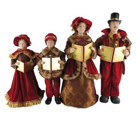 "Set of 4 20"" to 27"" Victorian Carolers by Santa's Workshop"