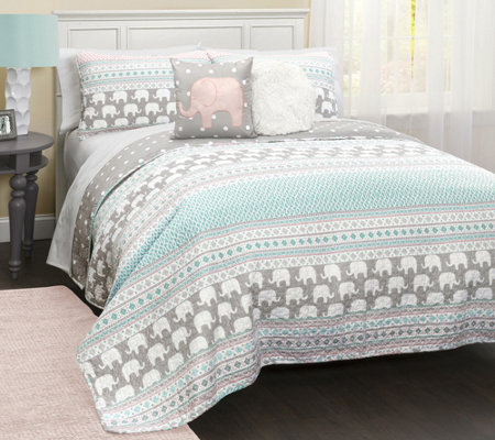 Elephant Stripe 4-Piece Twin Quilt Set by LushDecor