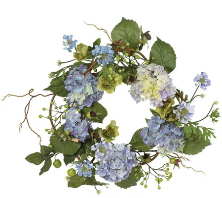 "20"" Hydrangea Wreath by Nearly Natural"