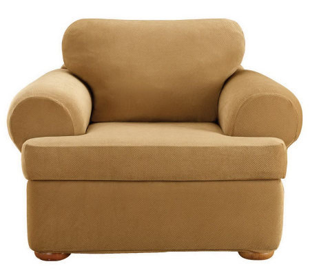 Sure Fit Stretch Pique 3-Piece T-Cushion ChairSlipcover