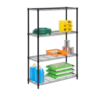 Honey-Can-Do 4-Tier Black Steel Urban Adjustable Shelving Unit