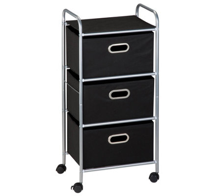 Honey-Can-Do Three-Drawer Fabric Storage Cart -Black