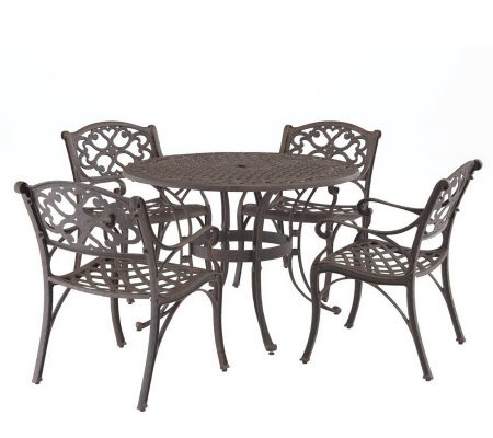 "Home Styles Cast Aluminum 48"" Round Table and 4Armchairs"