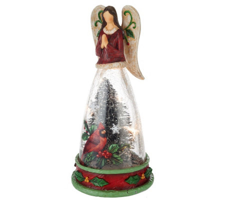 "Kringle Express 12.5"" Holiday Figurine with Crackle Glass"