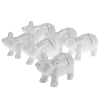 Set of 6 Ceramic Animal Placecard Holders by Valerie - H204781
