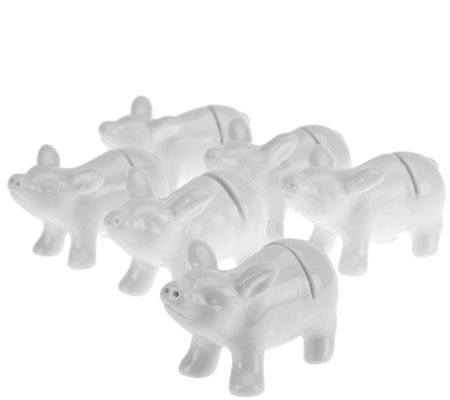 Set of 6 Ceramic Animal Placecard Holders by Valerie