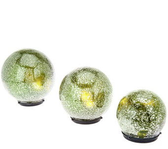 "Set of 3 Lit ""Color Within"" Mercury Glass Spheres by Valerie - H205281"