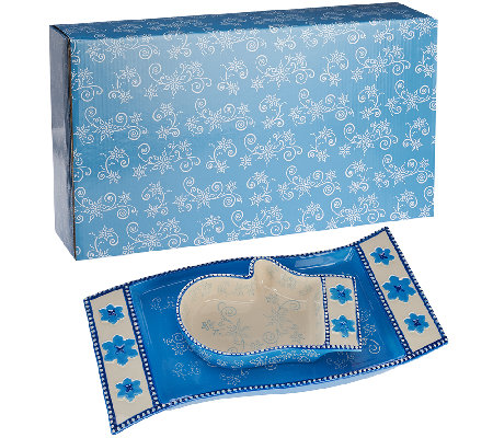 Temp-tations Floral Lace Mitten Bowl & Scarf Tray in Gift Box