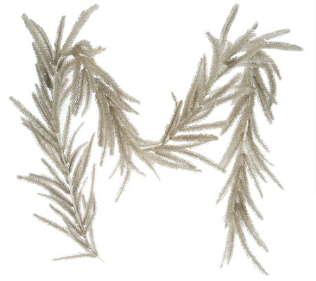 6' Glittered Antiqued Bottle Brush Garland