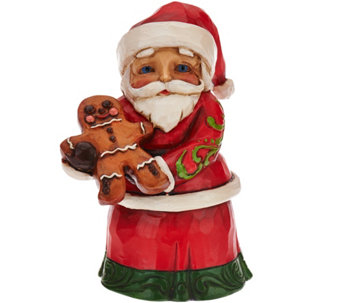 Jim Shore Heartwood Creek Mini Santa with Gingerbread Figurine - H209981