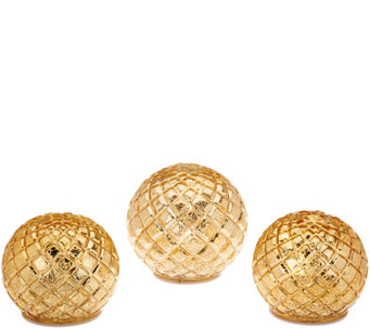 """As Is"" Set of 3 Illuminated Diamond Pattern Spheres by Valerie - H210981"