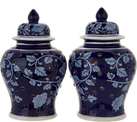 "Set of (2) 6"" Iluminated Color Reverse Ginger Jar Urns by Valerie"