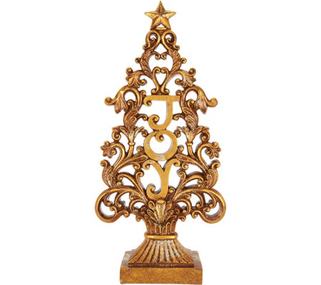 "15.5"" Antiqued Finish ""Joy"" Tree with Scroll Accents by Valerie"
