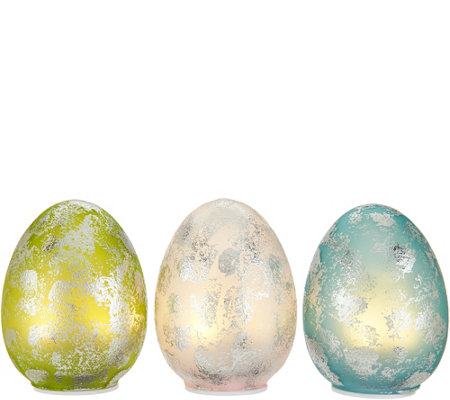 Set of (3) Illuminated Foiled Finish Glass Eggs by Valerie