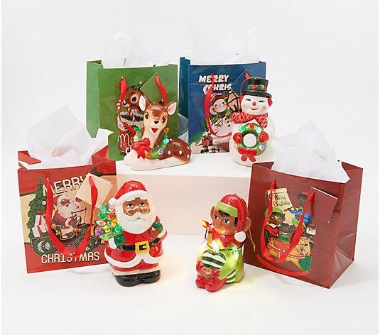 Mr Christmas Set Of 4 Lit Nostalgic Holiday Figures W Bags Black Qvc Com