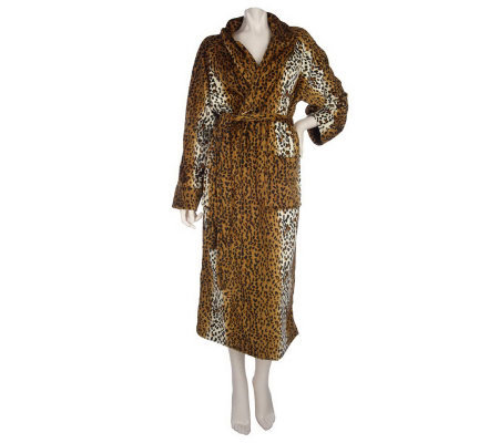 Kenneth Brown Microplush Animal Print Robe