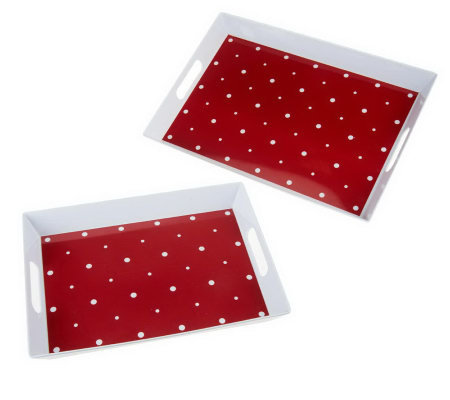 Temp-tations Set of 2 Melamine Entertaining Nesting Trays