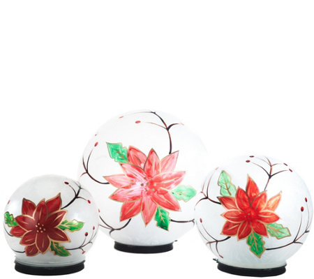 Kringle Express Set of 3 Indoor Outdoor Frosted Glass Spheres w/Timer